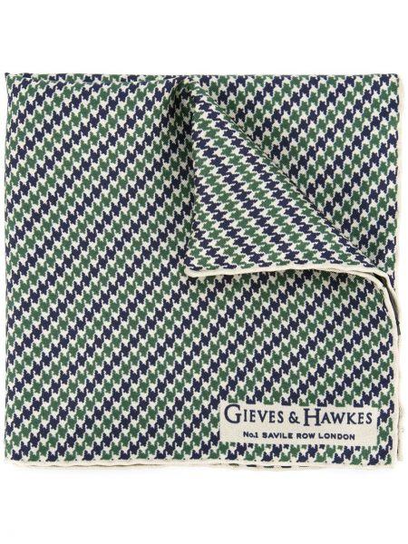Zielony jedwab klasyczny szalik Gieves & Hawkes
