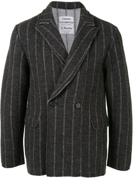 Серый вязаный пиджак на пуговицах с лацканами Coohem
