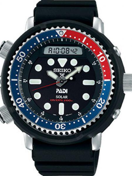 Часы водонепроницаемые с подсветкой с черным циферблатом Seiko
