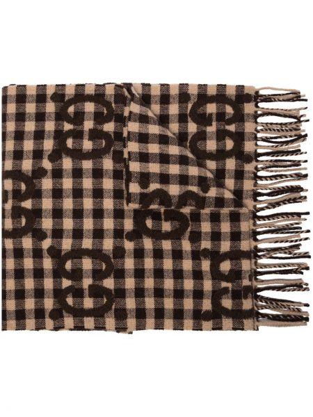 Brązowy trykotowy wełniany szalik przycięte Gucci