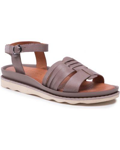 Sandały skórzane - szare Badura