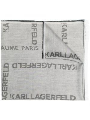Хлопковый серый шарф Karl Lagerfeld