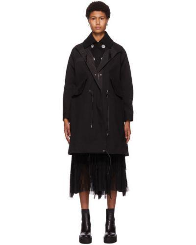 Черное длинное пальто с воротником с карманами Sacai