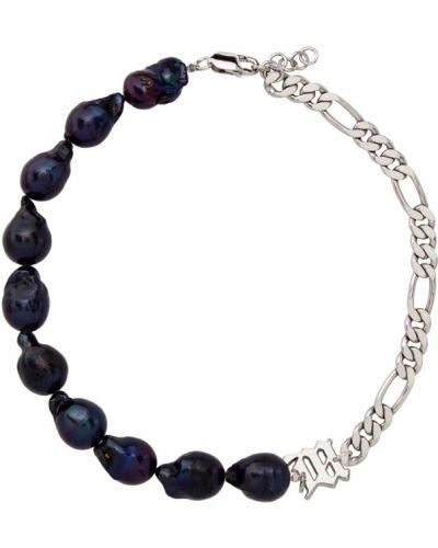 Fioletowy naszyjnik perły srebrny Misbhv