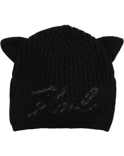 Czarny bawełna bawełna kapelusz z aplikacjami Karl Lagerfeld
