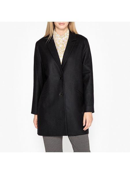 Черное шерстяное пальто с воротником на пуговицах Harris Wilson