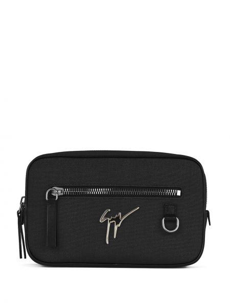 Черная поясная сумка металлическая на молнии Giuseppe Zanotti