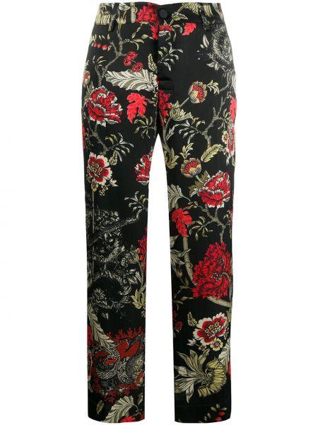 Прямые шелковые черные укороченные брюки на молнии F.r.s. For Restless Sleepers