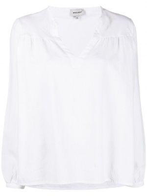 Белая блузка с длинными рукавами с вырезом Woolrich