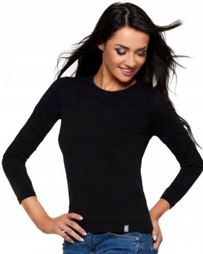 Czarny t-shirt z długimi rękawami bawełniany Moraj