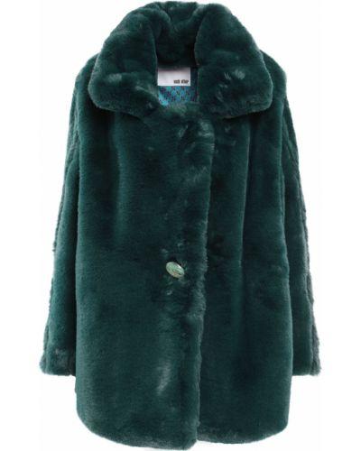 Зеленое пальто из искусственного меха с карманами Each X Other