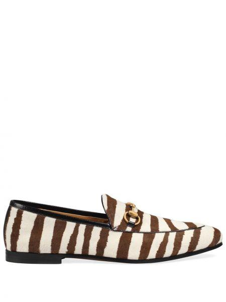 Brązowy loafers z prawdziwej skóry na pięcie kaskada Gucci