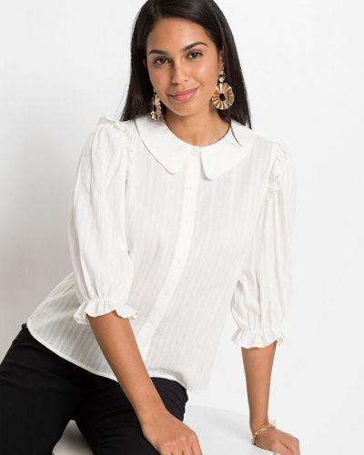 Белая блузка с рюшами Bonprix