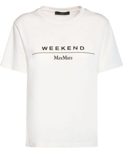 Белая хлопковая лонгслив Weekend Max Mara