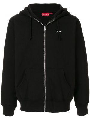 Czarna kurtka bawełniana z printem Supreme