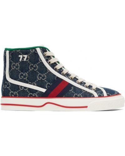 Beżowe wysoki sneakersy sznurowane koronkowe Gucci