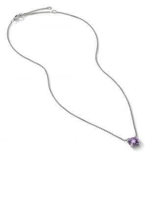 Naszyjnik łańcuch srebrny - fioletowy David Yurman