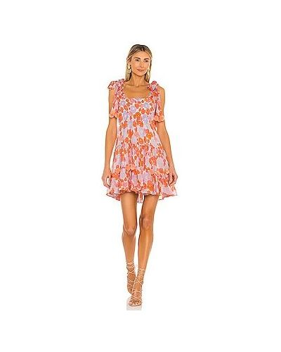 Оранжевое платье мини на бретелях из вискозы Sundress