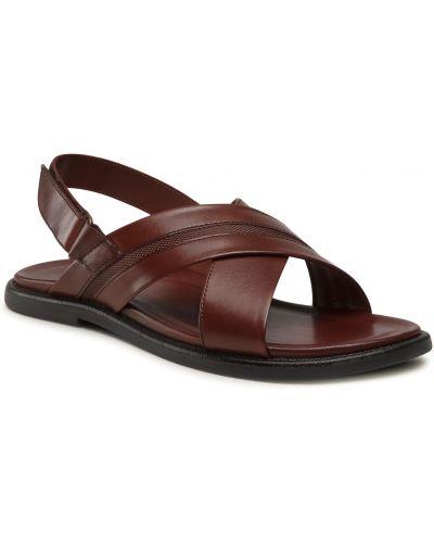 Sandały skórzane - brązowe Gino Rossi