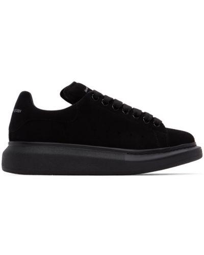 Skórzany czarny sneakersy na platformie zasznurować okrągły Alexander Mcqueen