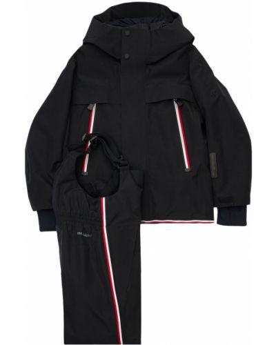 Czarny spodnie z kieszeniami z mankietami na przyciskach Moncler Grenoble