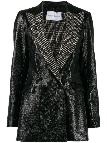 Черный приталенный мерцающий пиджак с воротником Hebe Studio