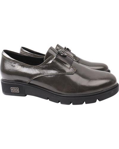 Кожаные туфли - зеленые Polann