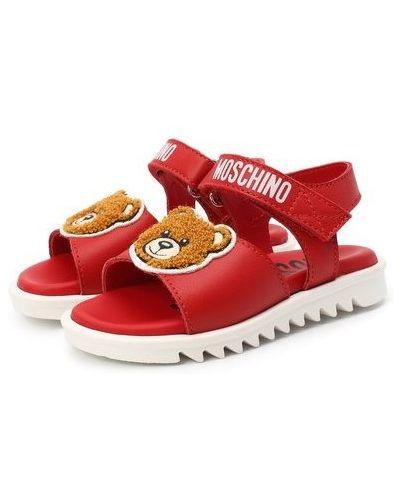 Красные кожаные босоножки с подкладкой Moschino