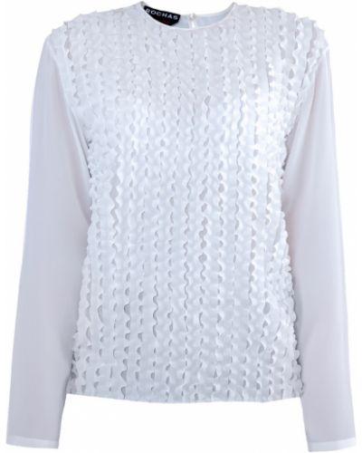 Блузка в полоску с рюшами Rochas