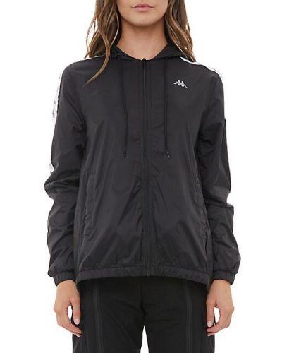 Черная длинная куртка с капюшоном на молнии Kappa