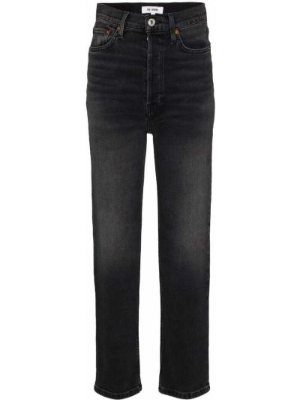Prosto bawełna niebieski jeansy na wysokości z kieszeniami Re/done