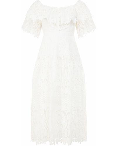 Белое платье миди с декольте с подкладкой Self-portrait