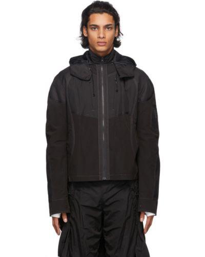 Нейлоновая черная куртка с капюшоном с манжетами с карманами Hyein Seo