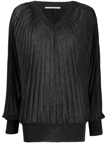 Черный свитер с V-образным вырезом из вискозы свободного кроя Marco De Vincenzo