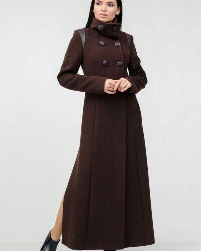 Коричневое пальто двубортное Raslov