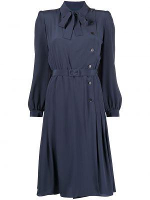 Шелковое платье макси - синее Maison Margiela
