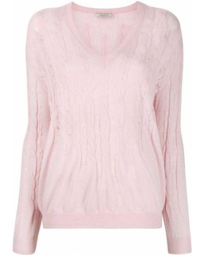 Розовый с рукавами джемпер с вырезом Nina Ricci