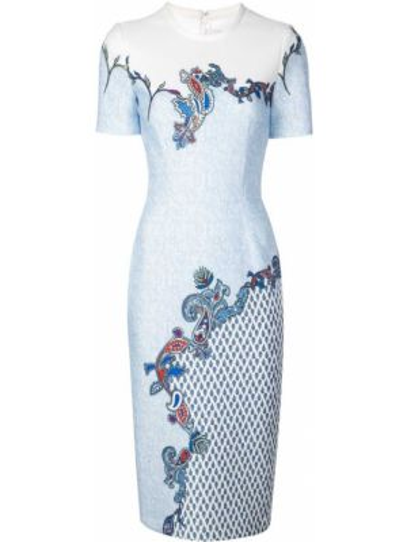 Синее платье мини с вырезом с короткими рукавами круглое Yigal Azrouel