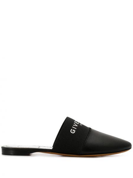Кожаные черные мюли с открытой спиной на плоской подошве Givenchy