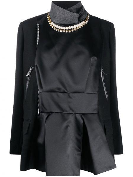 Черный кожаный удлиненный пиджак с карманами Sacai