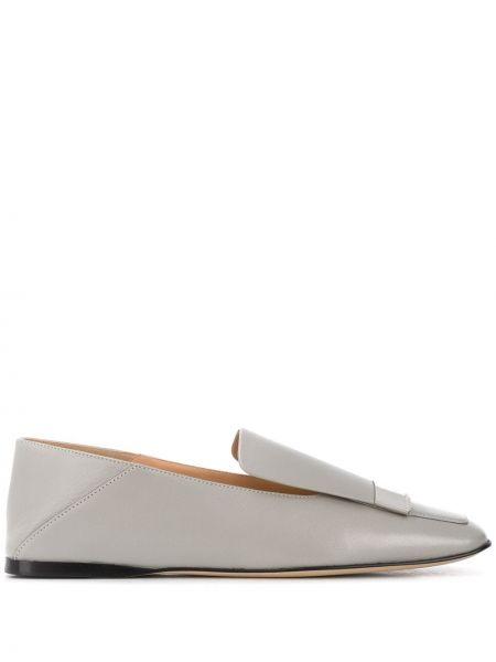 Серебряные кожаные лоферы квадратные Sergio Rossi
