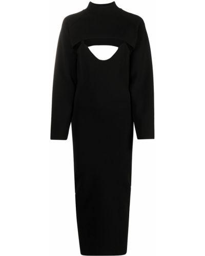 Трикотажное платье миди - черное Nanushka