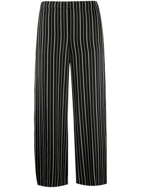 Черные укороченные брюки в полоску с карманами Theory