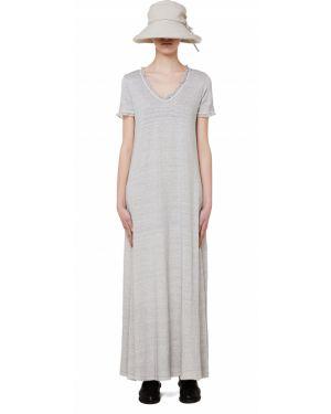 Платье серое шелковое 120% Lino