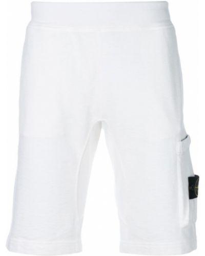 Белые короткие шорты Stone Island