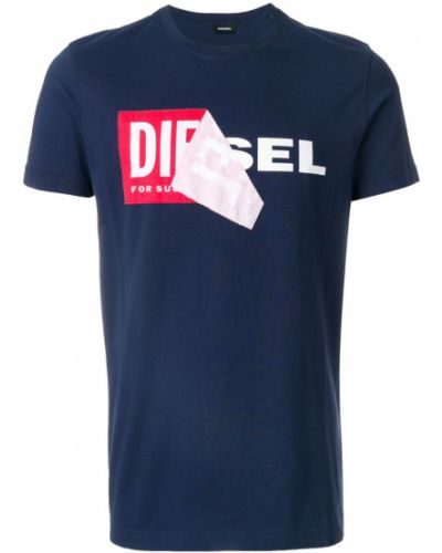 Синяя футболка с логотипом Diesel