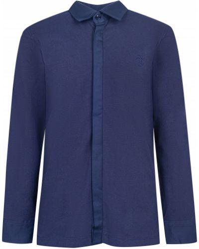 Нарядная хлопковая синяя рубашка Aletta