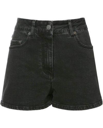 Хлопковые черные джинсовые шорты с карманами Moschino