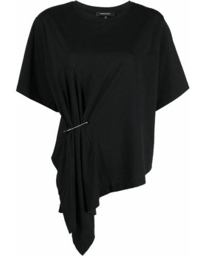 Хлопковая черная футболка с вырезом Barbara Bui