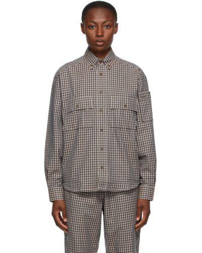 Черная рубашка с воротником с карманами с манжетами Rassvet